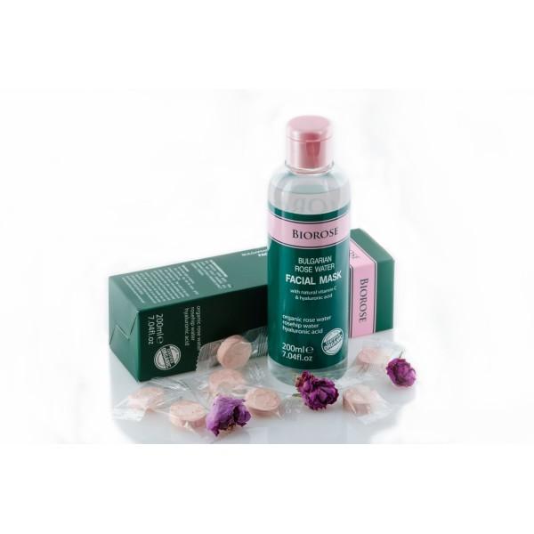 Masca faciala cu apa florala de trandafiri cu vitamina C si acid hialuronic Biorose  Curățare și Tonifiere Biorose