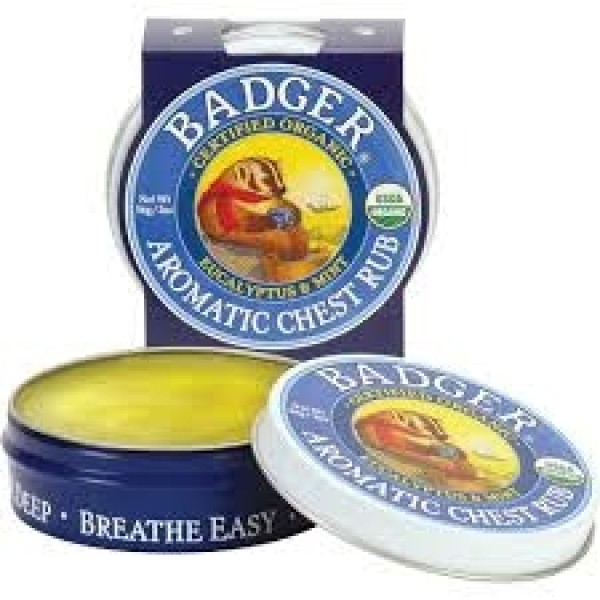 Mini balsam aromatic pentru desfundarea nasului si respiratie regulata Chest Rub 21 g Badger  Produse Naturale Diverse Badger