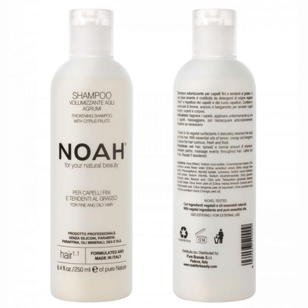 Sampon natural volumizant cu citrice pentru par fin si gras (1.1) Noah 250 ml  Șampon NOAH