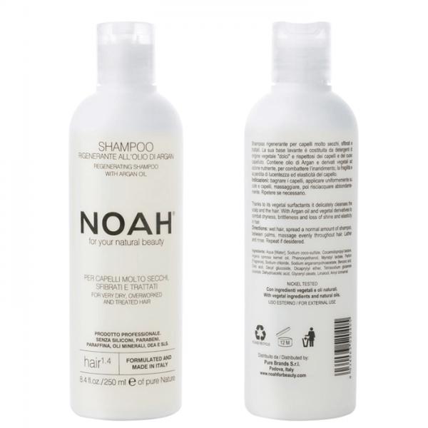 Sampon natural regenerant cu ulei de argan pentru par foarte uscat si tratat (1.4) Noah 250 ml  Șampon NOAH