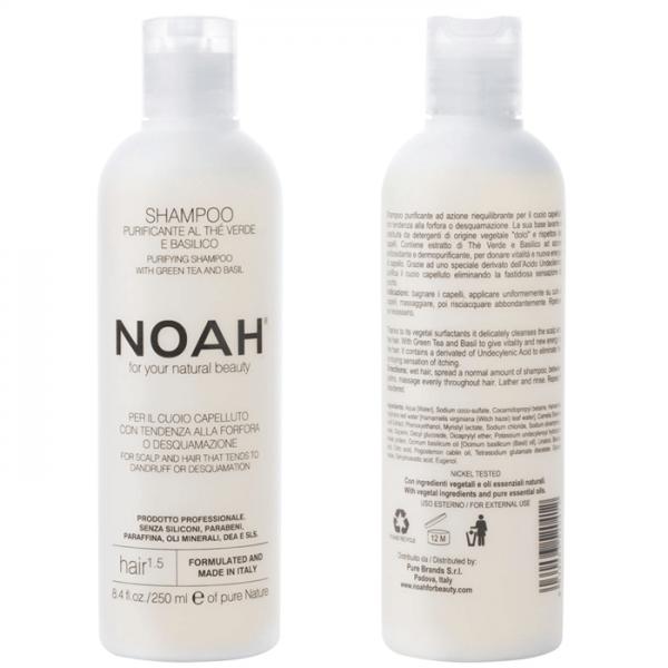 Sampon natural purifiant cu ceai verde pentru par cu matreata (1.5) Noah 250 ml  Șampon NOAH