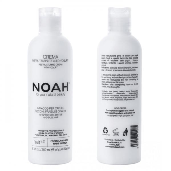 Balsam crema restructurant cu iaurt pentru par uscat, fragil si lipsit de stralucire (2.2) Noah 250 ml  Balsam NOAH