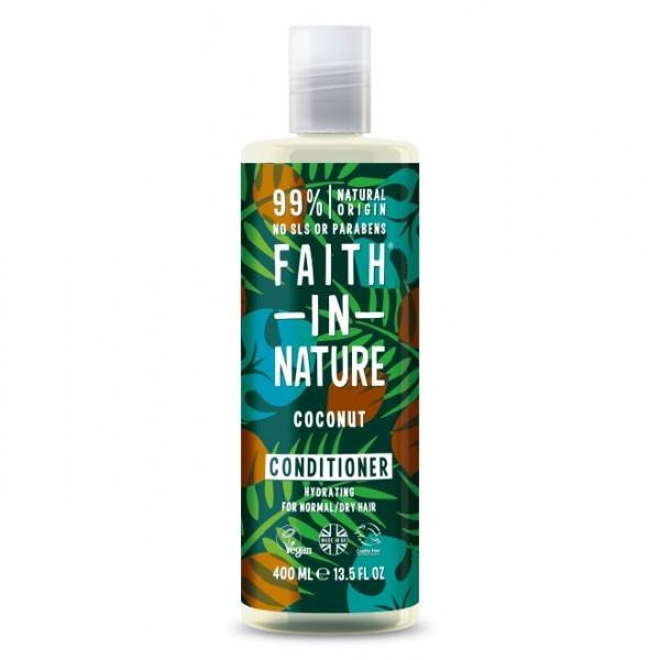Balsam de par cu cocos pentru par normal sau uscat Faith in Nature 400 ml  Balsam Faith in Nature