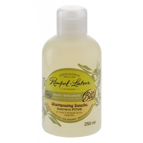 Gel de duş & şampon bio salvie bergamotă 250ml  Rampal Latour  Baie și Duș Rampal Latour