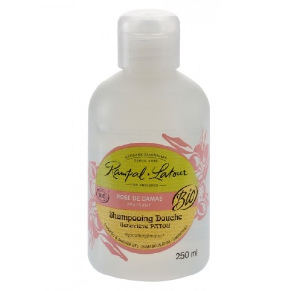 Gel de duş & şampon bio trandafir de Damasc (hipoalergen) 250ml  Rampal Latour  Baie și Duș Rampal Latour