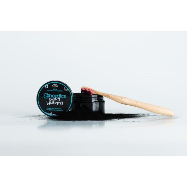 Carbune pudra pentru albirea dintilor cu aroma de menta 150 de folosiri Nordics  Îngrijire Dinți Bio Nordics