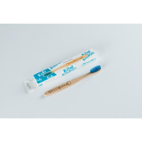 Periuta de dinti din bambus pentru copii - albastr...
