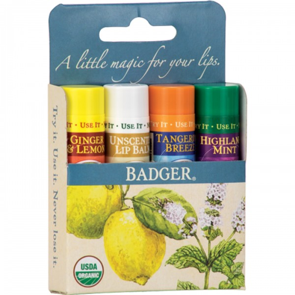 Set 4 balsamuri clasice de buze Blue Kit Badger